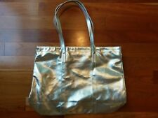 Metallic Silver Clinique Tote Purse Make Up Bag Cosmetic Case Solid Strap Handle