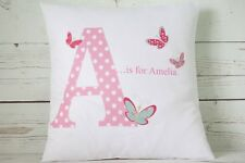 "Personalised Baby Girl Butterfly initial - 16"" white cushion cover Chic Nursery"