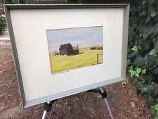 JEAN McCORD Original 1946 Watercolor Mid Century Modern Landscape Post Dust Bowl