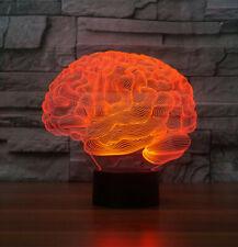 Brain Shape 3D Acrylic LED 7 Colour Night Light Touch Table Desk Lamp Gift