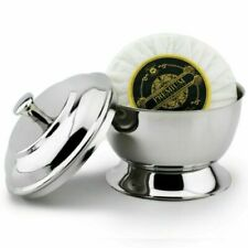 Professional Barber Shaving Lather Bowl with Soap German Steel Chrome Polished