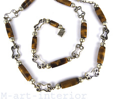 Sterling Argenté Chaîne Tigre tiger's eye silver necklace Taxco Mexico vintage