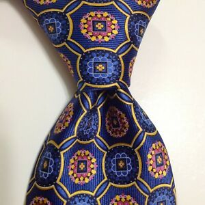 ROBERT TALBOTT Best of Class Men's Silk Necktie Designer Geometric Blue/Pink NWT
