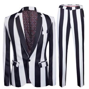 Men's Suits Groom One-Button Stripes Luxury Blazer Jacket Sz 5XL Trousers