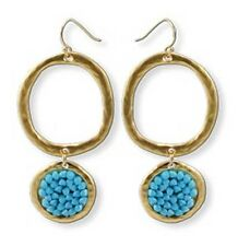Gold 24k Plated Hanging Rounded Casting Turquoise Stone J Hook Dangle Earrings