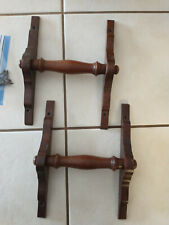 Pair Turned Walnut Surface Mount Carry Handles With Hardware 1880 Organ Salvage