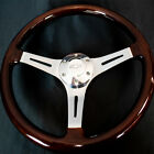 14 Inch Chrome Polished Steering Wheel Dark Wood 3-spoke With Chevy Horn Button