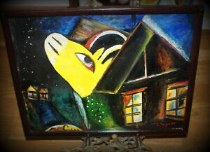 Russian French Surrealism Oil Painting Cowhouse Sign Chagall, 1917