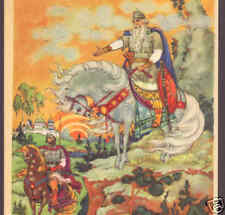 Russian Fairy Tale,King With His Knight,Horses,Postcard