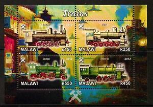 MALAWI 2012 TRAINS SHEETLET (NO4) MNH