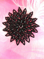 Xr33 Black Beaded Snowflake Applqiue Crafts ~ 3.25""