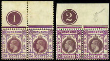 China Hong Kong KGV 1921-37 R21 25c Pair x 2 with Plate with Broken Flower MH/UM