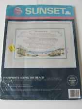 *NEW* 1992 SUNSET Footprints Along the Beach Counted Cross Stitch Kit