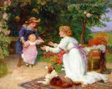 First Steps by Frederick Morgan - Mother Child Sister Walk Dog 8x10 Print 1232