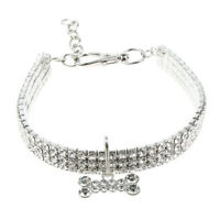 Collier pour Chat Chaton Chiot avec Os Colliers Strass Animal Réglables