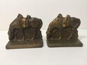 Vintage Pair Cast Iron Bronze Brass Finish Bookends, Saddled Horses