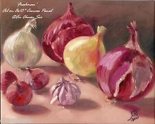 Still-life Original oil painting - Onions & Garlic - Freshman - 2000-Now