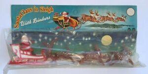 SANTA CHAUS IN SLEIGH, Vintage Plastic 5 & 10 Store Toy in Original Package