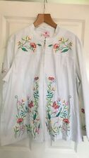 2XL NEW  Quacker Factory Beaded Embroidered  BUTTERFLY white zip Jacket QVC