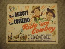 "Abbott and Costello Ride Em Cowboy Home Original 22x28"" Poster #L9621"