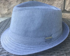 STETSON Blueish Gray Trilby Fedora L/XL NEW TAGS Cotton/Polyester