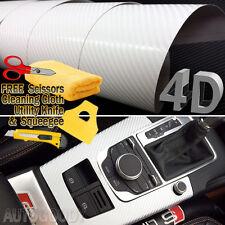"48"" x 60"" Premium Gloss White Carbon Fiber 4D Vinyl Film Wrap Air Bubble Free"