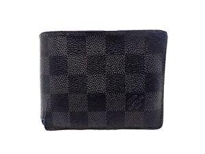Authentic Louis Vuitton Damier Graphite Wallet Multiple N62663 Men's