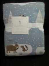 Pottery Barn Kids Winter Bear Flannel Duvet Cover Full Queen Gray #1319