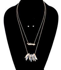 Multi Layered Gold Tone Stone Necklace Earrings Set Chic Women Fashion Jewelry
