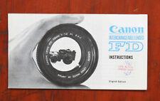 CANON FD LENSES INSTRUCTION BOOK, LOOKS, 10/73/148484