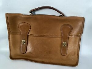 Coach Rare Vintage Bonnie Cashin Pre-Creed Tan Leather Briefcase Metal Tag