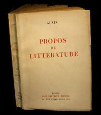 ALAIN - Propos de littérature.