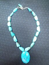 Barse Sterling Silver Natural Turquoise Bead Strand Necklace w/ Center Medallion