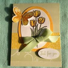 Handmade Just for You greeting Card, Butterfly, Tulips