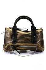 Chloe Womens Mini Metallic Leather Chain Link Tote Handbag Gold Brown