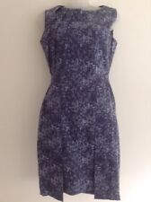 Ce Me London Blue Shades Fitted Dress Size U.K. 8 Front Pleat Detail Smart Work