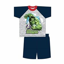 BNWT Official Boys Marvel HULK Short Pyjamas 100% Cotton age 7-8 yrs Blue Grey
