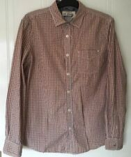ST GEORGE BY DUFFER DESIGNER MENS SHIRT SIZE M. BROWN/ORANGE CHECK LONG SLEEVES