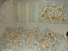 LOT/SET OF 6 QUILTED/QUILT PLACEMATS BLUE-YELLOW-WHITE STRIPE & PALAMPORE FLORAL