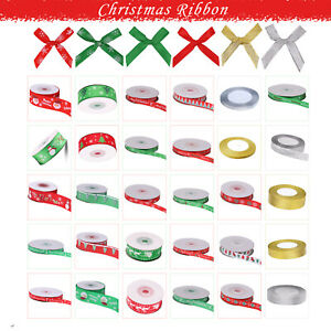 Christmas Ribbon Rolls Gift Wrapping Wreaths Decorations Crafts Santa Snowflakes
