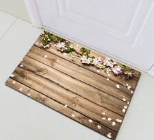 Home Bath Mat Bedroom Floor Rug Kitchen Carpet Vintage Wood Plank Spring Flower