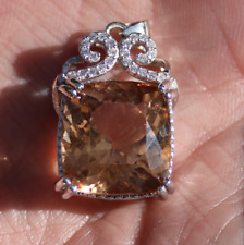 Imperial Topaz 19.60ct,White Gold Pendant,Natural,Cushion,VVS,Untreated,New