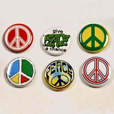 6 PEACE Buttons Pinbacks Badges 1 inch Hippie Symbol
