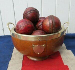 GENTLEMANS OLD  ANTIQUE VINTAGE OAK TROPHY BOWL WITH 12 ANTIQUE CRICKET BALLS