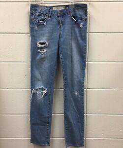 Abercrombie Fitch Womens Erin Jeans Distressed Medium Wash Sz 4L 30x33