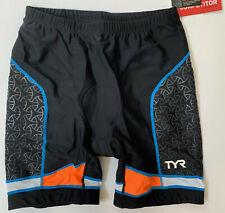 "TYR Men's XL Black Orange Shorts 7"" Triathlon Exercise Cycle Pad COMPETITOR New"