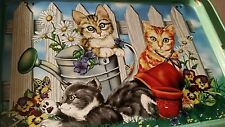 VINTAGE OLD...ADORABLE KITTY TV Lap Snack Trays kittens Set of 2