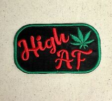 High AF - Marijuana Pot Leaf - Adult Humor/Gag Gift - Iron On Embroidered Patch