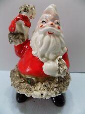 Vintage Ceramic Santa Claus & Hat Gold Spaghetti Trim Figurine