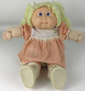 "Cabbage Patch Doll Girl Blonde Hair Pigtails Blue Eyes 16"" CPK Vintage 1982 KT"
